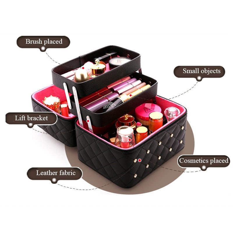 Diamond Women Makeup Bag Large Capacity PU Leather Cosmetic Bags Grid Pattern Portable Travel Beautician Toiletry Storage Box