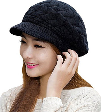 Winter Warm Knit Hat for Women Fleece Beanie Beret Crochet Wool Cap with Visor for Ladies Girls