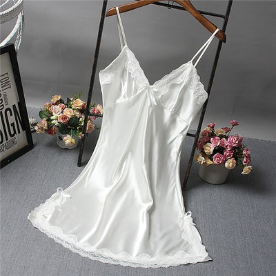 Brand New Chinese Women Robe Satin Nightgown Sexy Nightshirt Sleepwear Print Bath Gown Summer Casual Home Night Dress One Size