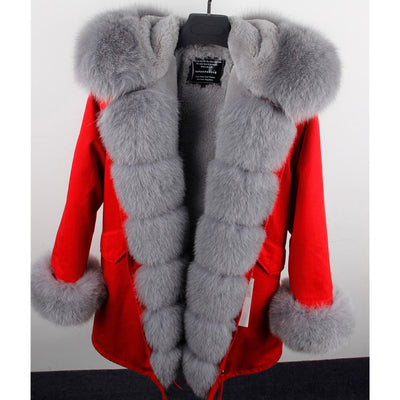 MAO MAO KONG Camouflage winter jacket women outwear thick parkas natural real fox fur collar coat