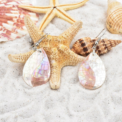 CHICVIE Ice Crack Natural Pearl Shell Ethnic Earrings With Stones For Women Exaggerated Simple Droplet Type Earrings SER170057
