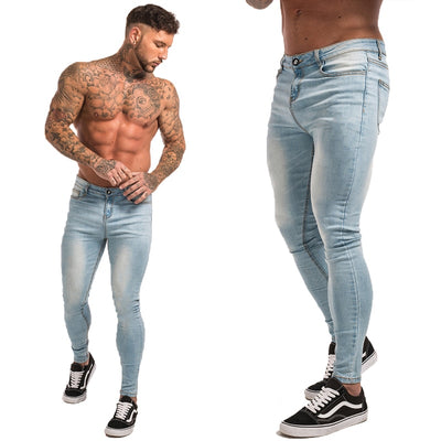 Gingtto Blue Jeans Slim Fit Super Skinny Jeans For Men Street Wear Hio Hop Ankle Tight Cut Closely To Body Big Size Stretch zm05