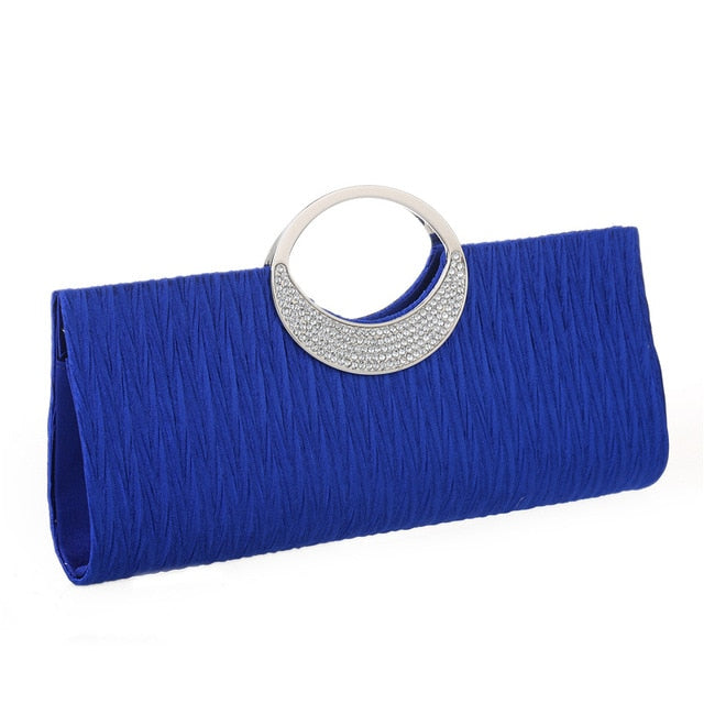 Luxury Evening Clutch Bags Fashion Rhinestone Satin Pleated Women Evening Bag Wedding Party Handbag Clutch Purse bolsos mujer