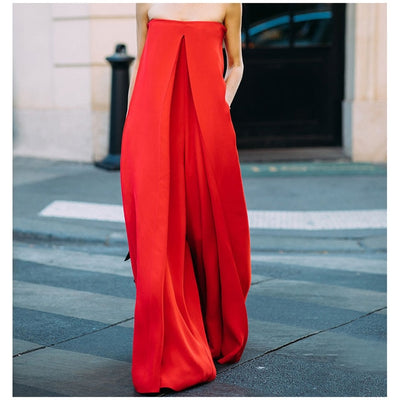 AEL Red Super Loose Jumpsuit Women Boat Neck Sleeveless Summer Long Jumpsuit 2018 Street Wear Fashionable Wide Leg Jumpsuit