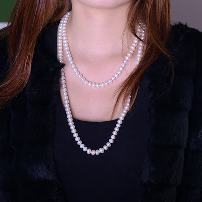 [MeiBaPJ] 7-8mm Size Nice Charm Real Freshwater Pearl Necklace for women 120cm long Sweater chain white Fashion Jewelry
