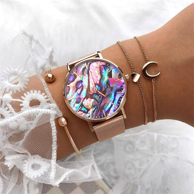 New A Dream of Coral Red real Abalone Rose Gold Mesh WristWatch with Stainless Steel moon & Heart Link Bracelet Beach