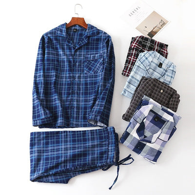 Pure Cotton Men's Autumn&winter Long-sleeved Trousers Pajama Suits Plaid Sleepwear Men Pajama Set Mansleepwear Flannel Pyjama