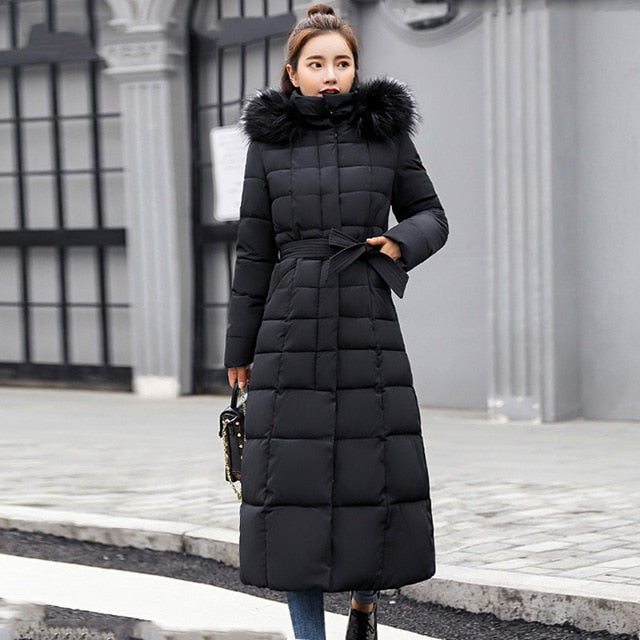 X-Long 2019 New Arrival Fashion Slim Women Winter Jacket Cotton Padded Warm Thicken Ladies Coat Long Coats Parka Womens Jackets