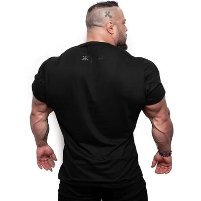 Men Fitness Bodybuilding Skinny T-shirt Short sleeve Cotton shirts Male Summer Casual Fashion Tee Tops Crossfit Brand Clothing