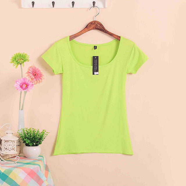 Plus Size Stretch Basic Tops 2019 Summer Style Short Sleeve T-shirts For Women U Neck 100% Cotton Women's T Shirt Casual Tees