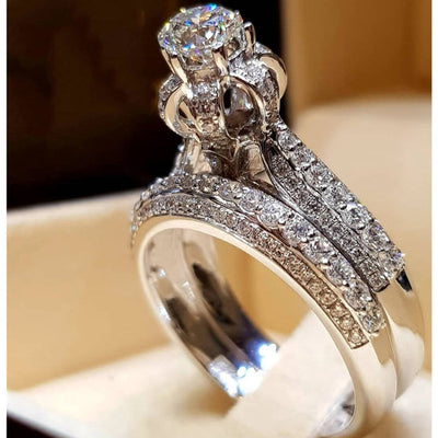 Modyle 2019 New Fashion Jewelry 2pcs/set Brand Silver Color Ring Set Crystal Zircon Wedding Engagement Rings for Women