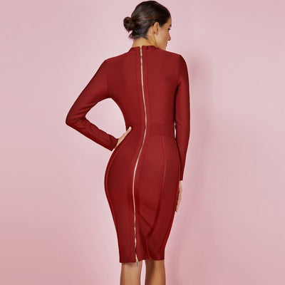 Ocstrade Womens Christmas Party 2019 Winter Vestido New Bandage Dresses High Neck Purple Rayon Sexy Bandage Dress Long Sleeve