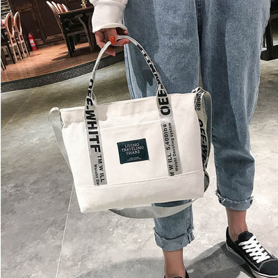 Foldable Reusable Shopping Beach Bag 2019 New Women Canvas Tote Ladies Casual Shoulder Bag