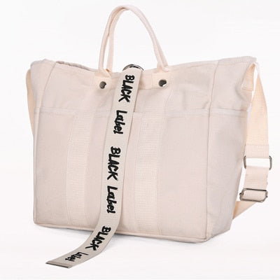 Fashion Women Shopping Bag Japan Style Ladies Canvas Letter Shopping bags Totes Beach Bags Girls School bags