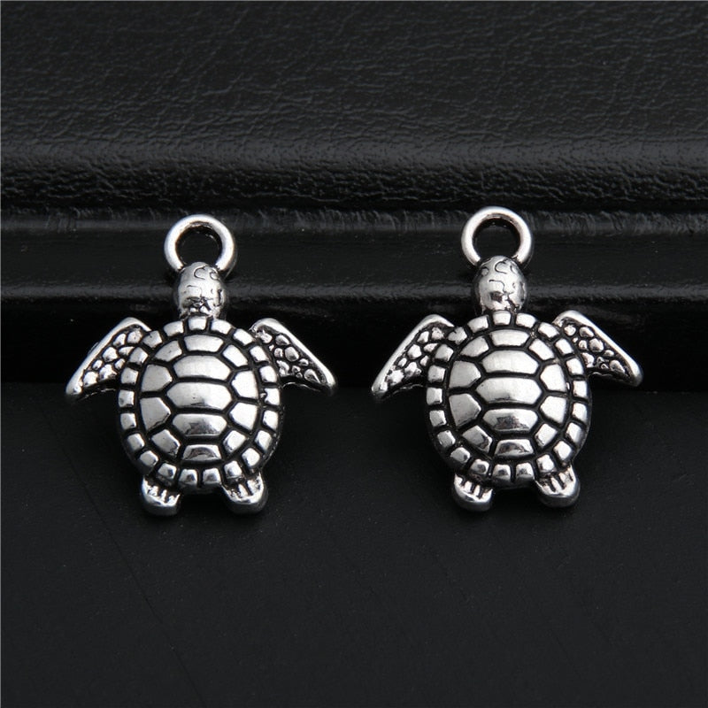 30pcs Antique Silver Zinc Alloy Turtle Charms Pendant DIY Jewelry Findings Fits Bracelet Necklace A2779