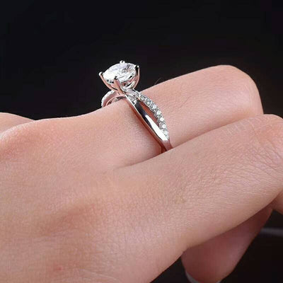 [MeiBaPJ  Moissanite Gemstone Fashion 1 Carat Diamond Ring D Color VVS  925 Sterling Silver Fine Wedding Jewelry for Women