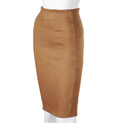 SheBlingBling Empire Skirts  Spring Faux Suede Pencil High Waist Bodycon Split Thick Stretchy Sexy Skirts Knee Length Plus Size