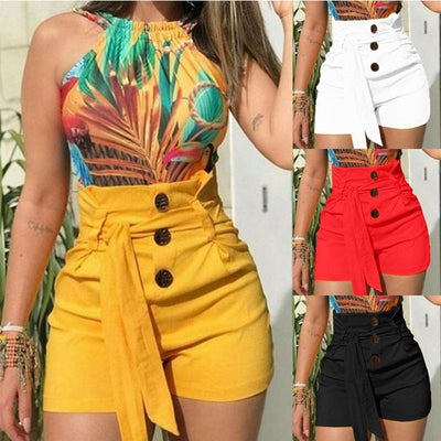 CHRLEISURE  Solid Shorts Women's 2019 High Waist Shorts Feminina Summer Lace Up Loose Casual Short Pants Women's Clothing