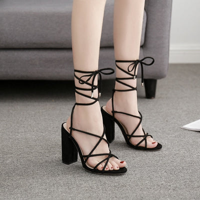 High Heels Sandals Women Cross Narrow Band Summer Shoes Woman Lace Up Ankle