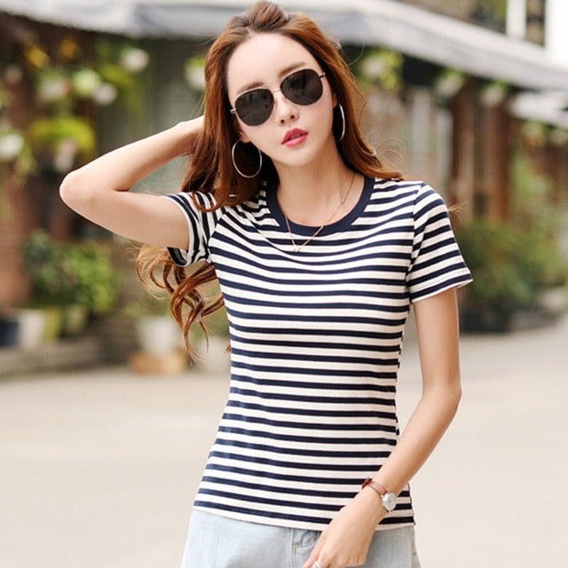 Soperwillton Women T-Shirt 2018 Summer Tops Shirts  Striped Casual tshirts Plus Size Cotton Femme Women's feminina Tees A111