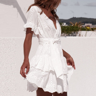 Embroidery Cotton White Dresses Summer Women Short Sleeve Casual Beach Boho Sundress Sexy V Neck Hollow Out Mini Dress Ladies