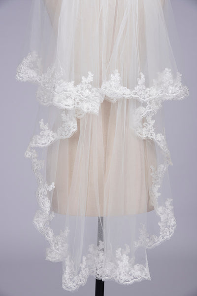 Bridal Veil With Combs Elbow Length Veil Short Wedding Veils With Lace Appliques Veils Wedding Accessories