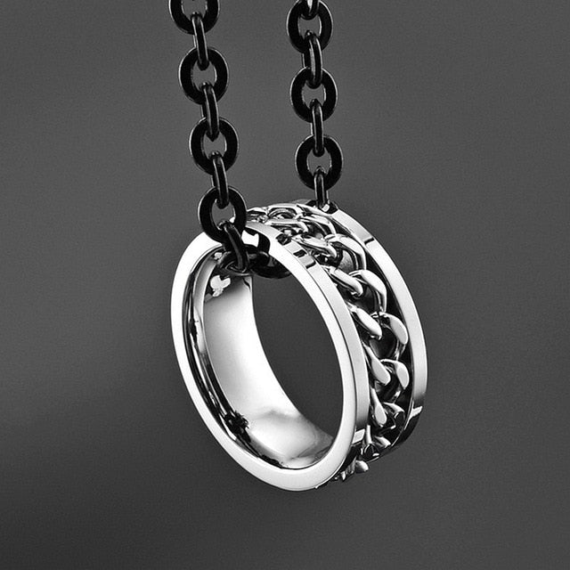 Stainless Steel Silver Rotating Chain Ring Punk Style Personality Men's Ring Ring Men's Jewelry