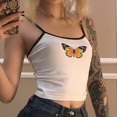 Fashion Sexy Women Ladies Butterfly Print White Tank Tops Sleeveless Wear Strappy Tank Top Vest Summer Short Crop Tops