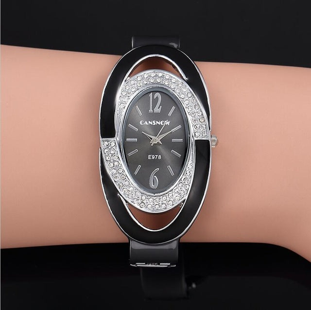 2019 New Luxury Brand Fashion Oval Dial Rhinestone Quartz Bangle Watches Women Dress Cuff Bracelet Wristwatch Relogio Feminino