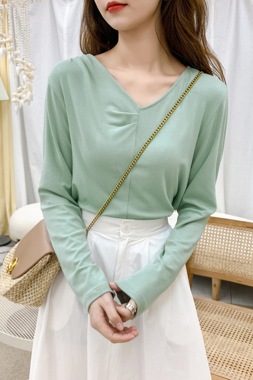 V-Neck Avocado Green T-shirt Top - 7GEGE