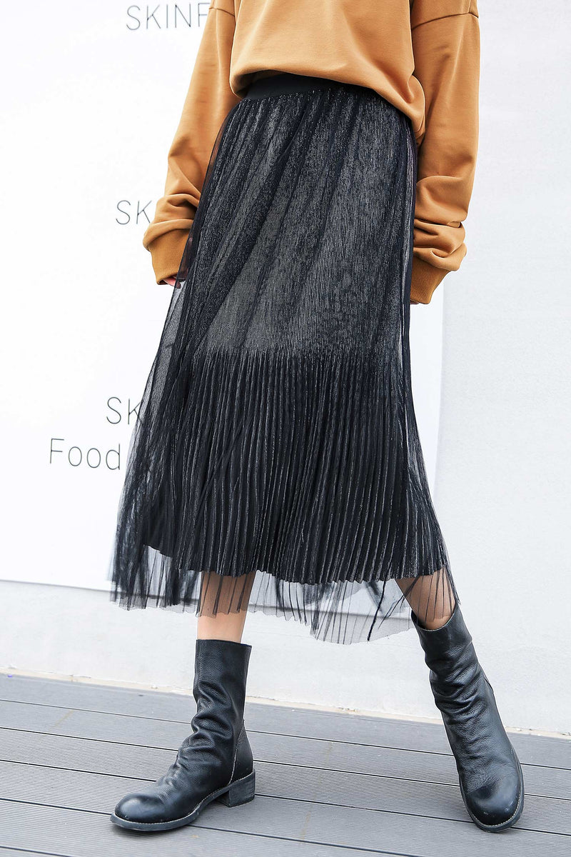 Black A-line Mesh Pleated Skirt - 7GEGE