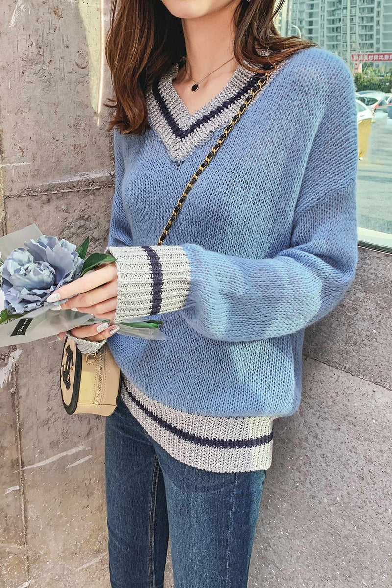 V Neckline Striped Trim Knit Sweater - 7GEGE