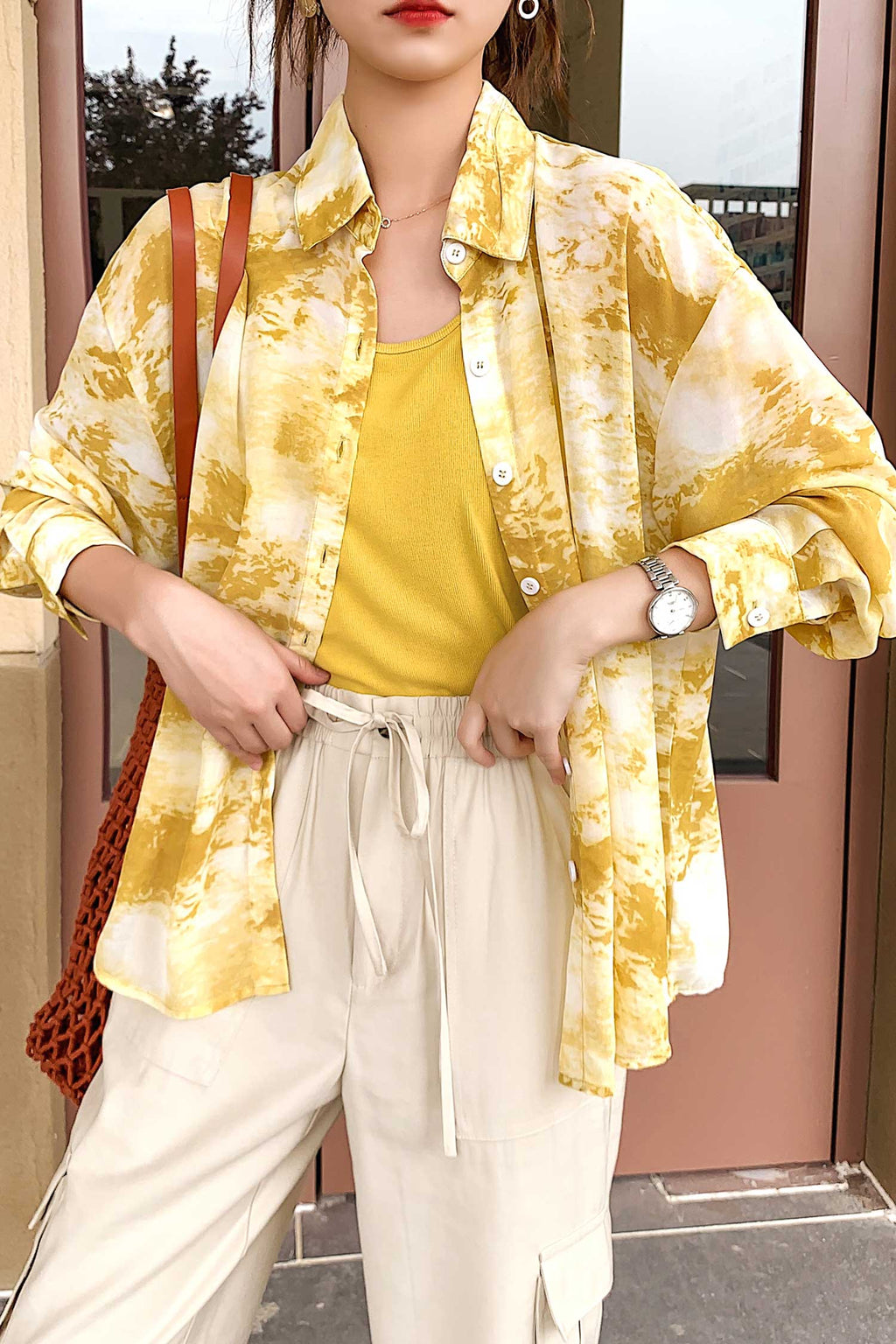 Long sleeve Loose Shirt Yellow - 7GEGE
