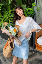 Sweet Chiffon Short-Sleeved Lace Top
