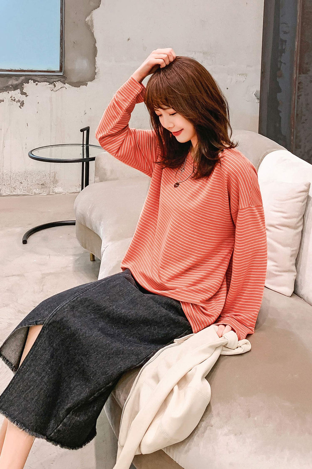 Loose Stripes Long Sleeve T-shirt - 7GEGE