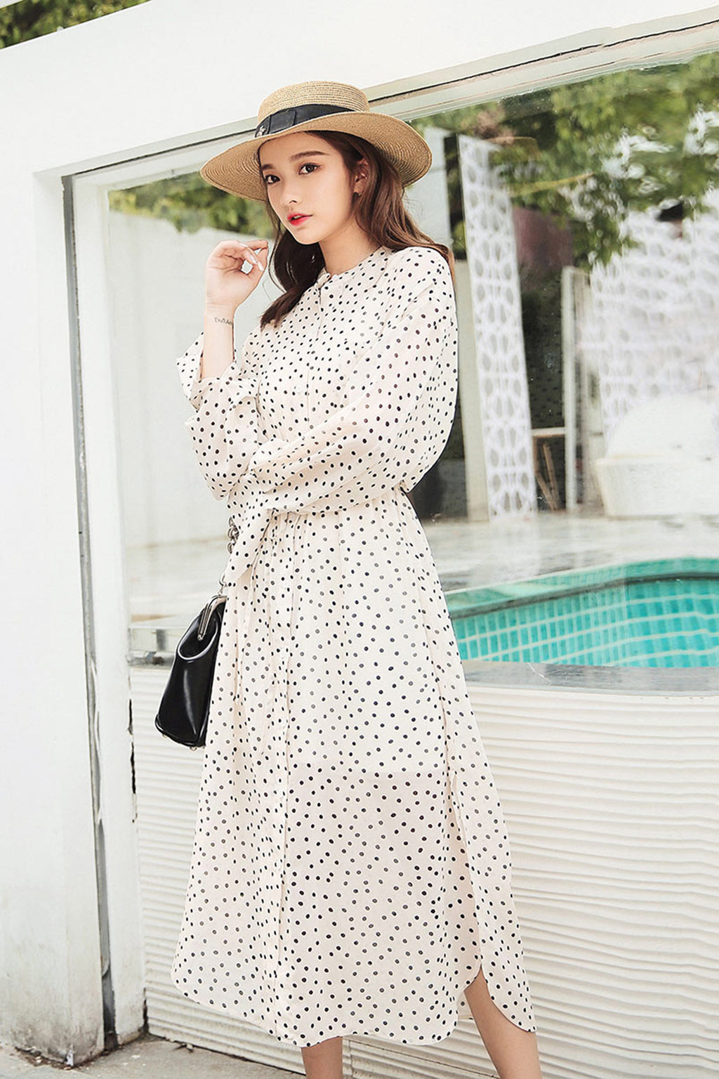H-ring Chiffon Polka Dots Ruffle Hem Dress - 7GEGE