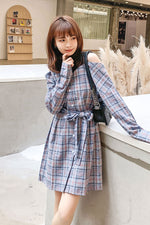 Off Shoulder Plaid Long Sleeve Short Slim Dress - 7GEGE