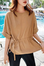 Crew-Neck Chiffon Shirt Top
