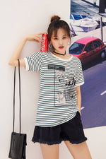 Black and White Striped Short Sleeve T-shirt