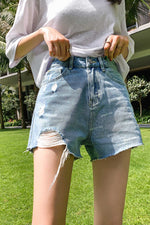 High waist shorts Straight jeans pant