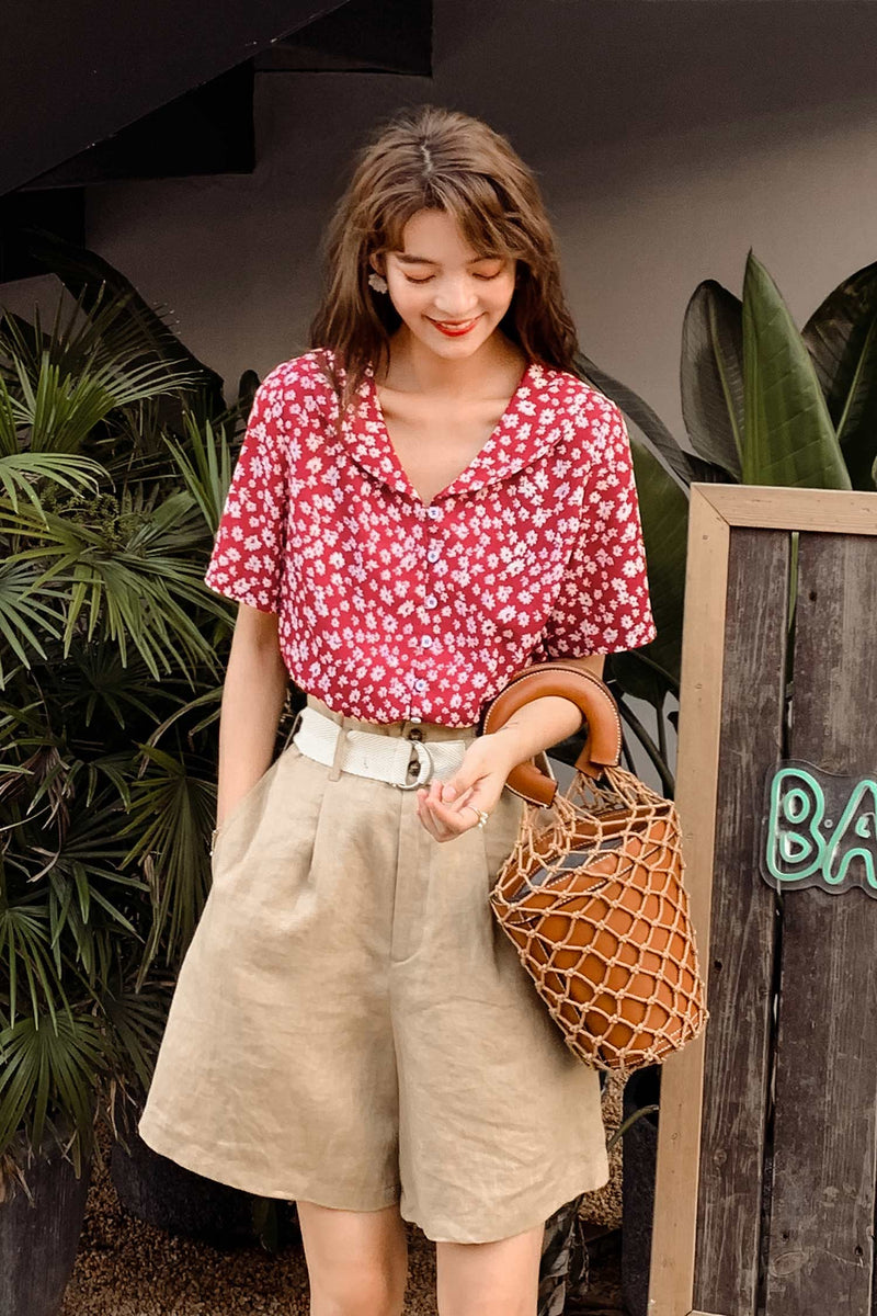 Flower Print Top Fashion Shirt