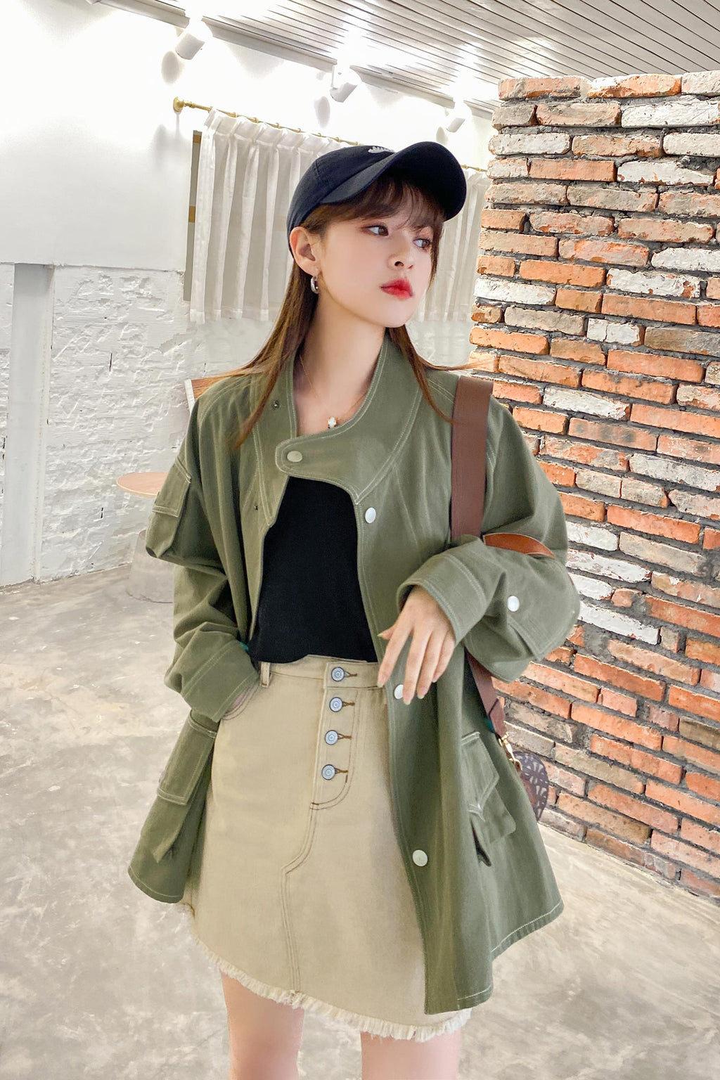 Loose Green Asymmetrical  Pocket Top Coat - 7GEGE