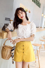 White Short Sleeve Chiffon Top - 7GEGE