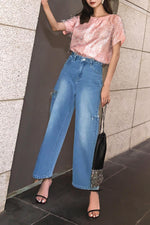 High waist long jeans Straight pant
