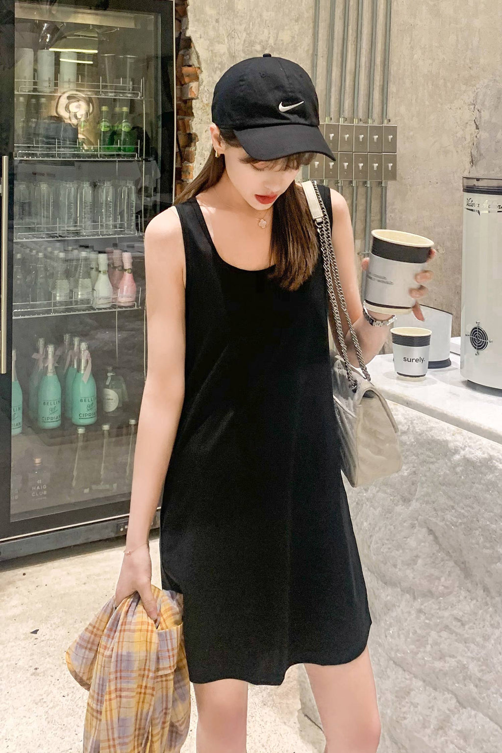Black Non Sleeve Strap Dress - 7GEGE