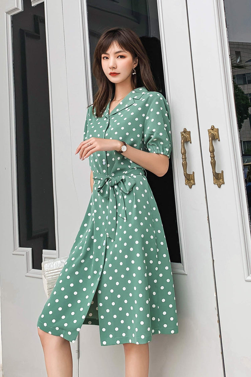 Chiffon Avocado Green Polka Dot Fairy Dress