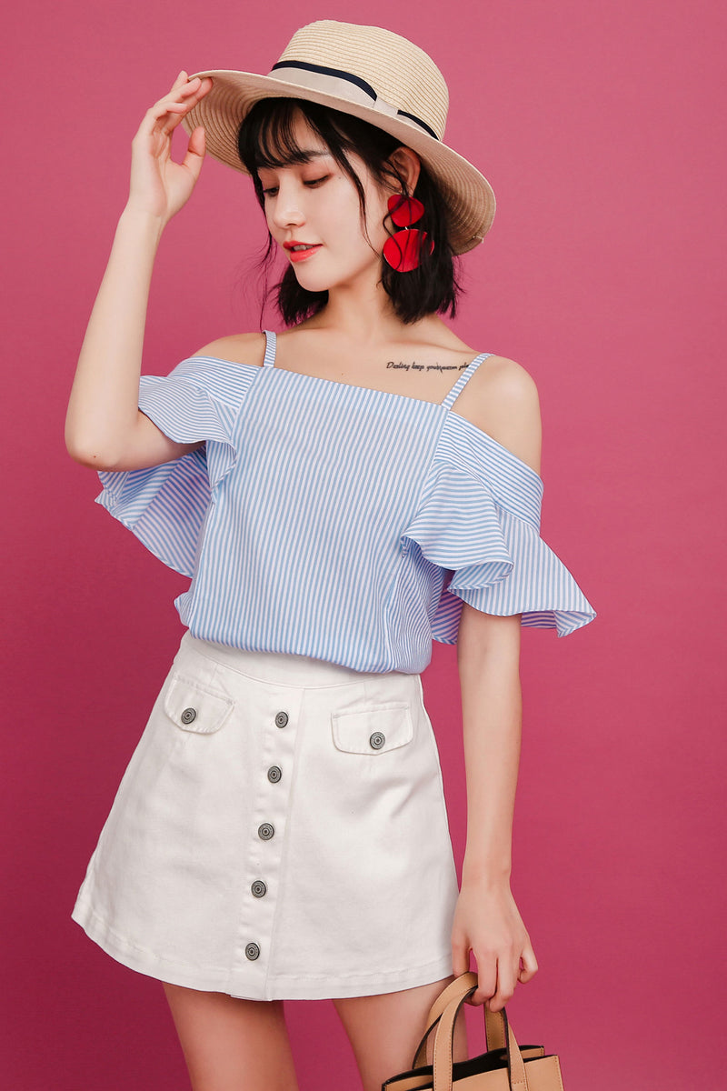 Off Shoulder With Ruffled striped Sweet Top