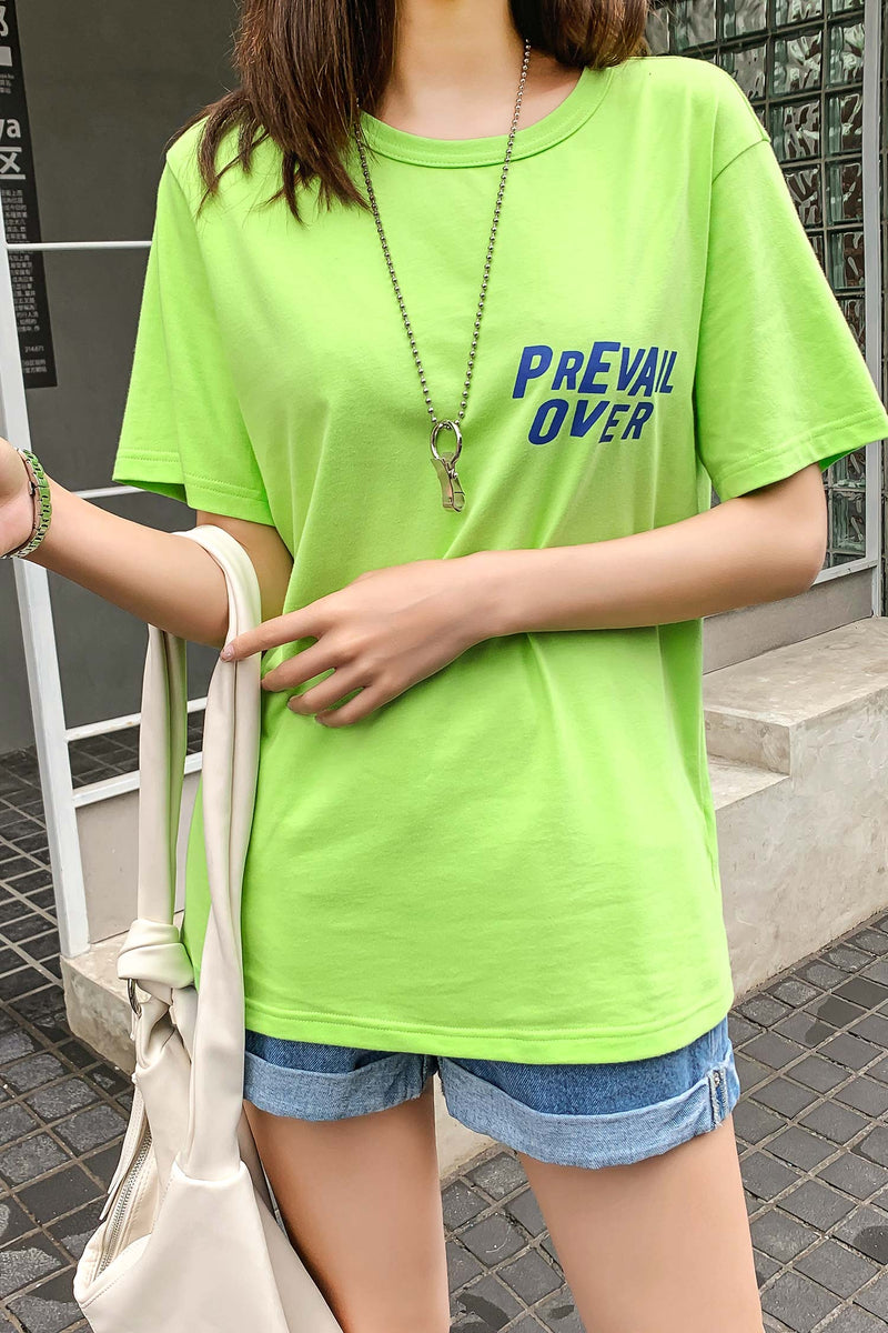 Front Breast and Front Back Graphic Letter Tee Shirt - 7GEGE