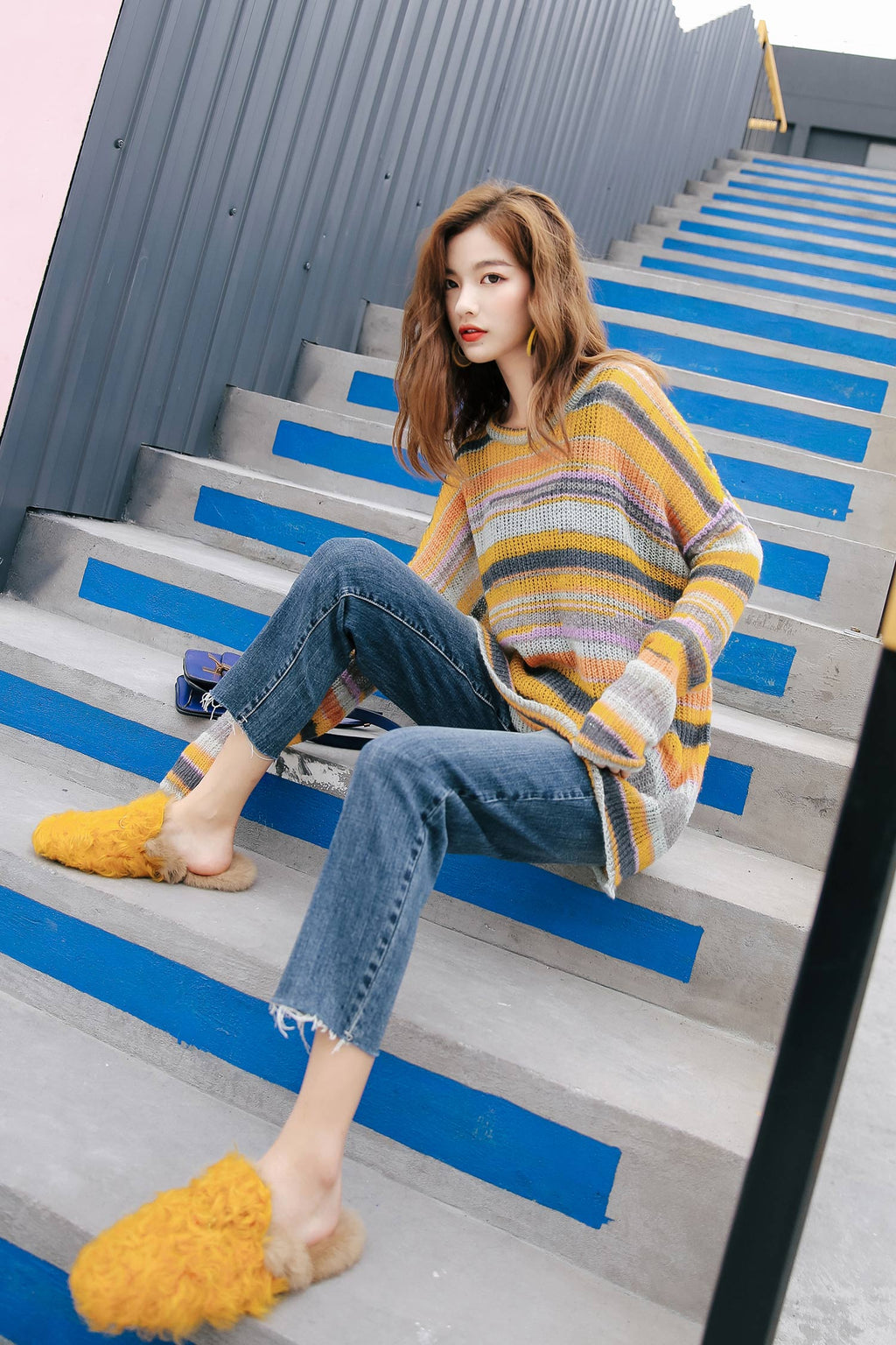 Yellow Knit Long Knit Sweater - 7GEGE