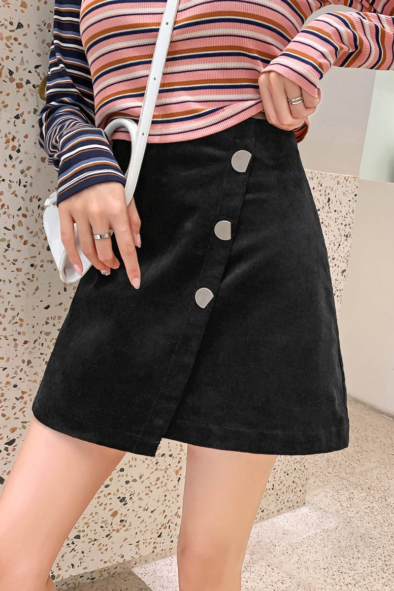 Asymmetrical Hem Buttons Short Skirt - 7GEGE